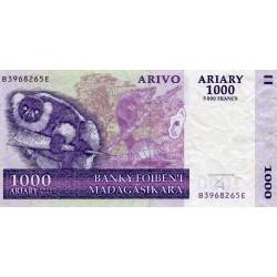 MADAGASCAR - PICK 89 b - 1.000 ARIARY 2004 - LEMURIAN - TURTLE