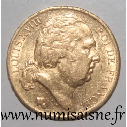 FRANCE - KM 712 - 20 FRANCS 1820 A - Paris - GOLD - LOUIS XVIII