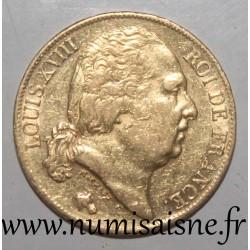 FRANCE - KM 712 - 20 FRANCS 1818 A - Paris - GOLD - LOUIS XVIII