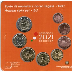 ITALY - 3.88 € - MINTSET BU 2021 - 8 COINS