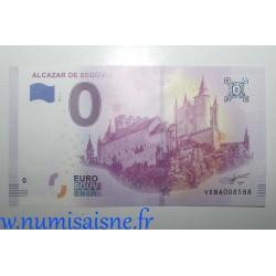 SPAIN - TOURISTIC 0 EURO SOUVENIR NOTE - ALCAZAR OF SEGOVIA - 2019