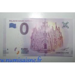 SPAIN - TOURISTIC 0 EURO SOUVENIR NOTE - PALACIO GAUDI ASTORGA - 2018