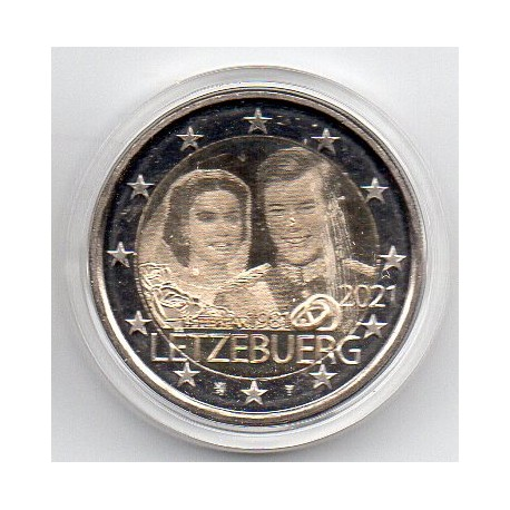 LUXEMBOURG - 2 EURO 2021 - ANNIVERSARY OF THE WEDDING OF GRAND DUKE HENRI - HOLOGRAM TYPE