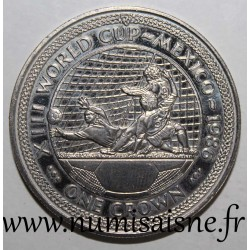ISLE OF MAN - KM 163 - 1 CROWN 1986 - FOOTBALL WORLD CUP - MEXICO