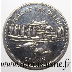 ISLE OF MAN - KM 898 - 1 CROWN 1998 - YEAR OF THE OCEAN - PENGUINS AND SEALS