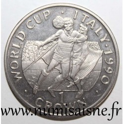 GIBRALTAR - KM 36 - 1 CROWN 1990 - FOOTBALL WORLD CUP - ITALY