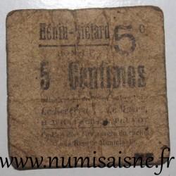 FRANCE - County 62 - HENIN LIETARD - 5 CENT 1915