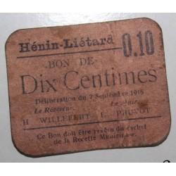 FRANCE - County 62 - HENIN LIETARD - 10 CENT 1915