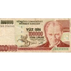 TURQUIE - PICK 206 - 100 000 LIRA - NON DATE (1997)