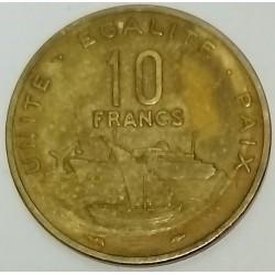DJIBOUTI - KM 23 - 10 FRANCS 1977 - BOATS