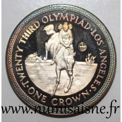 ISLE OF MAN - KM 120 - 1 CROWN 1984 - HORSE RIDING - SILVER