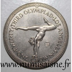 ISLE OF MAN - KM 119 - 1 CROWN 1984 - JEUX OLYMPIQUE - LOS ANGELES - Gymnastic