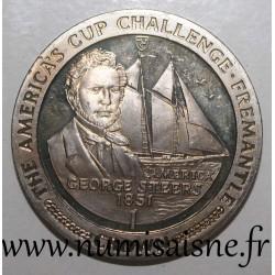 ISLE OF MAN - KM 185 - 1 CROWN 1987 - America's Cup Challenge - George Steers