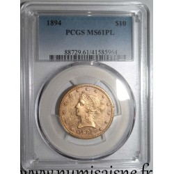 UNITED STATES - KM 102 - 10 DOLLARS 1894 - LIBERTY - CORONET HEAD - With Motto - PCGS MS 61 Proof Like