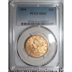 UNITED STATES - KM 102 - 10 DOLLARS 1894 - LIBERTY - CORONET HEAD - With Motto - PCGS MS 62