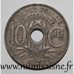 FRANCE - KM 866a - 10 CENTIMES 1935 - TYPE LINDAUER - Little hole