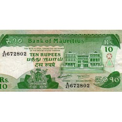 MAURITIUS - PICK 35 - 10 RUPEES - NO DATE (1985)
