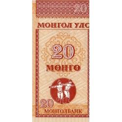 MONGOLIA - PICK 50 - 20 MONGO - NON DATÉ (1993)