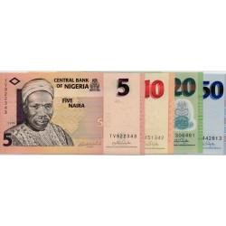 NIGERIA - PICK 32 bis 35 - SERIE 5 + 10 + 20 + 50 NAIRA - 2006/2007