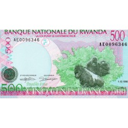 RWANDA - PICK 26 - 500 FRANCS - 01/12/1998 - GORILLAS