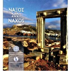GREECE - BRILLIANT UNCIRCULATED EURO COIN SET 2021 - 8 COINS - NAXOS