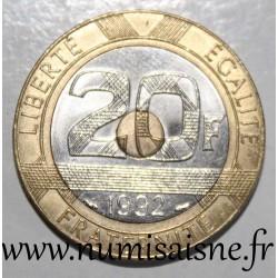 FRANKCE - KM 1008 - 20 FRANCS 1992 - TYPE MONT SAINT MICHEL - V Open - 5 Reeded rows