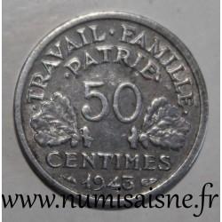 FRANCE - KM 914 - 50 CENTIMES 1943 B - Beaumont le Roger - TYPE BAZOR