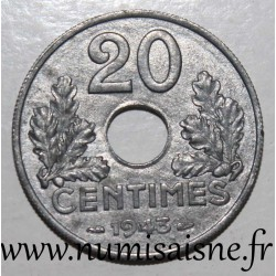 FRANCE - KM 900 - 20 CENTIMES 1943 - TYPE 20