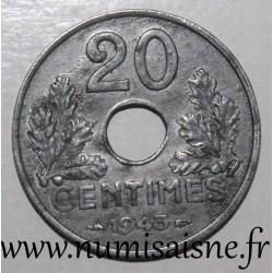 FRANCE - KM 900 - 20 CENTIMES 1943 - TYPE 20 - Thin Edge