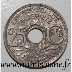 FRANCE - KM 867 - 25 CENTIMES 1922 - TYPE LINDAUER
