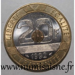 FRANKCE - KM 1008 - 20 FRANCS 1992 - TYPE MONT SAINT MICHEL - V Closed - 5 Reeded rows