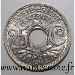 FRANCE - KM 867 - 25 CENTIMES 1914 - TYPE LINDAUER