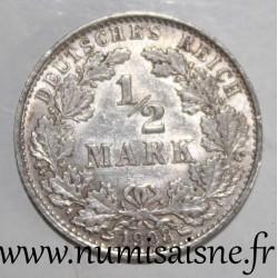 GERMANY - KM 17 - 1/2 MARK 1908 A - Berlin