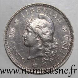ARGENTINA - KM 2 - 20 CENTAVOS 1883