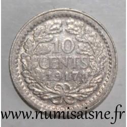 NETHERLANDS - KM 145 - 10 CENTS 1917 - WILHELMINA