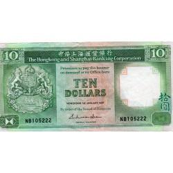 HONG KONG - PICK 191 a - 10 DOLLARS - 01/01/1987
