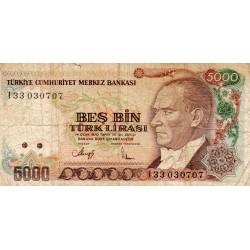 TURKEY - PICK 198 - 5 000 LIRA - L.1970 (1990)