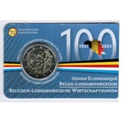BELGIUM - 2 EURO 2021 - 100 YEARS OF ECONOMIC UNION - Coincard