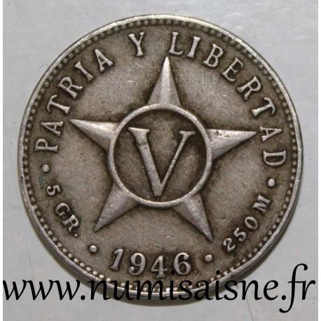 CUBA - KM 11 - 5 CENTAVOS 1946
