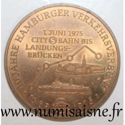 GERMANY - MEDAL - 10 YEARS OF THE TRANSPORT NETWORK - 1965 - 1975 - Hamburg