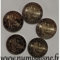 GERMANY - 2 EURO 2012 - Mint marks A D F G J - BAYERN - Neuschwanstein Castle
