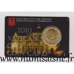 VATIKAN - KM 387 - 50 CENT 2010 - PAPSTE BENEDIKT XVI - Coincard
