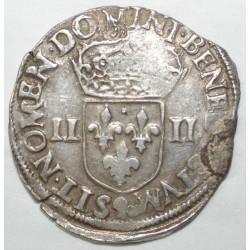 Dup 1133 - HENRI III - UN QUART D'ECU - 1582 T - TTB