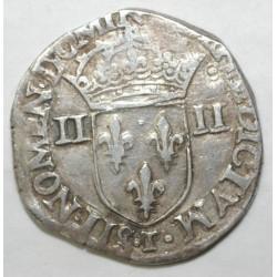 Dup 1133 - HENRI III - UN QUART D'ECU - 1581 T - NANTES - TTB