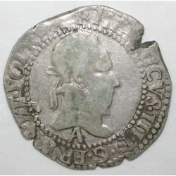 Dup 1131 - HENRI III - DEMI FRANC AU COL PLAT - 1587 A