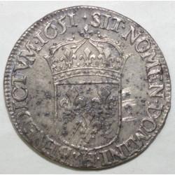 Gad 169 - LOUIS XIV - 1/2 ECU A LA MECHE LONGUE - 1651 H - LA ROCHELLE - TTB