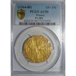Dup 360 - CHARLES V (1364-1380) - FRANC A PIED - OR - PCGS AU 50 - FR 284