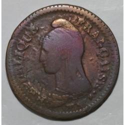 FRANCE - KM 645 - 1 DECIME 1796 A - Paris - YEAR 5 - OVERSTRIKE OF 2 DECIMES