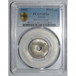 GRECE - KM E29 - 20 LEPTA 1912 - ESSAI - PCGS SP 66
