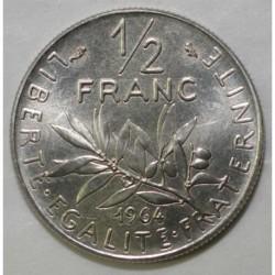 GADOURY 429 - 1/2 FRANC 1964 TYPE SEMEUSE - PRE SERIE AVEC DIFFÉRENT - KM 931.1